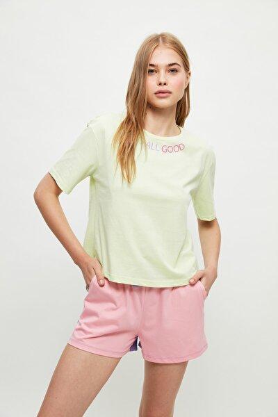 Yeşil Renk Bloklu Sloganlı Örme Pijama Takımı THMSS21PT1046