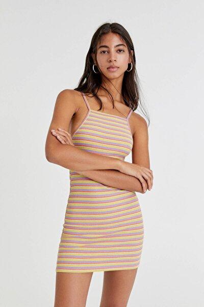 Askılı Çizgili Kısa Elbise