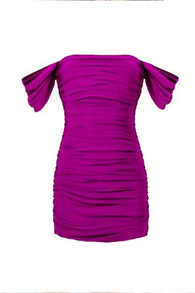 Siklamen Mor Degaje Kollu Drapeli Mini Elbise