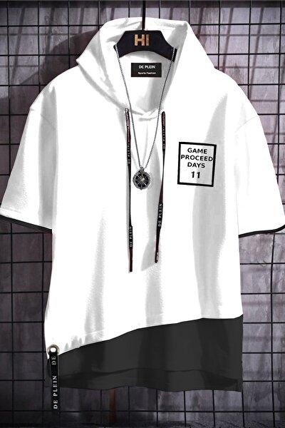 Unisex Beyaz Oversize Kapüşonlu % 100 Pamuk T-shirt