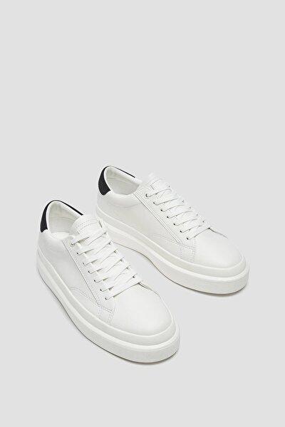 Erkek Beyaz Kabartma Efektli Tabanlı Spor Ayakkabı