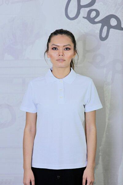 Kadın Beyaz Polo Yaka Regular Fit Normal Kesim Düz T- Shirt