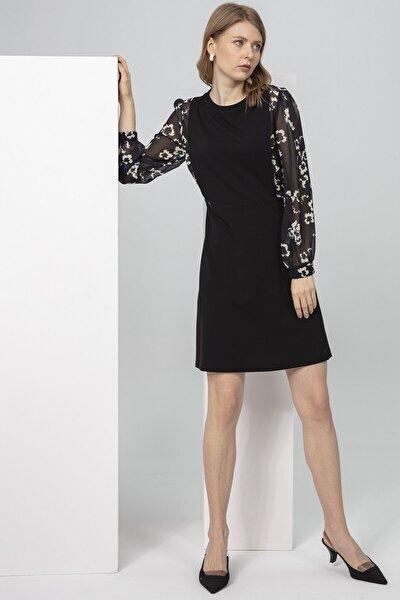 Elbise-sıfır Yaka, Zıt Renk Kombinli, Kol Büzgülü