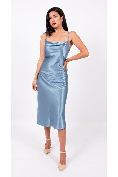 Kadın Mavi Saten Degaje Yaka Askılı Elbise