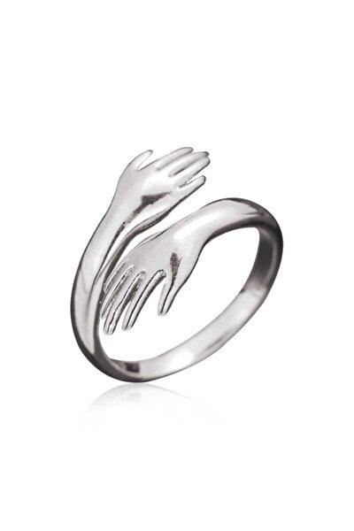 ?Gümüş Sarılan Eller Yüzük