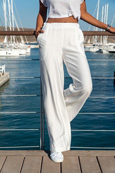 Kadın Beyaz Keten Beli Lastikli Salaş Pantolon M2933