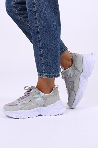 Kadın Gri Hakiki Deri Sneaker
