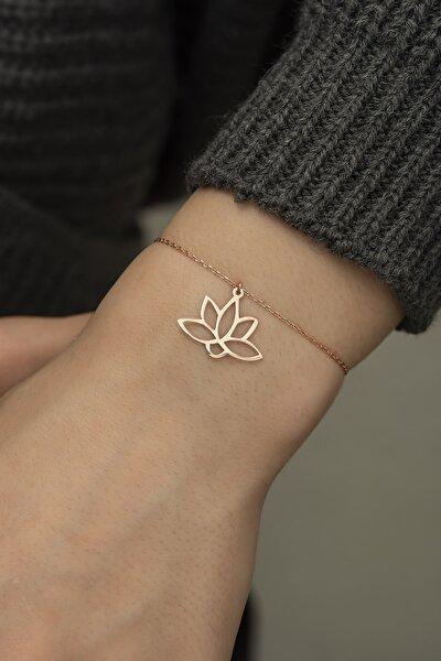 925 Ayar Gümüş Lotus Çiçeği Bileklik Kadın Bileklikler Dn1135