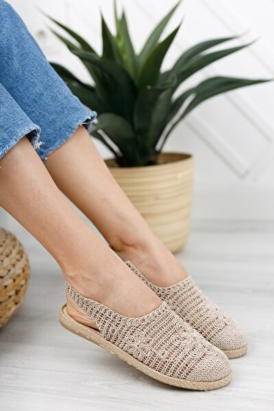 Kadın Bej Dantelli Sandalet