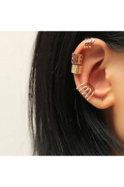 Kadın Gold Kulak Aksesuarı Piercing Küpe Seti 4'lü