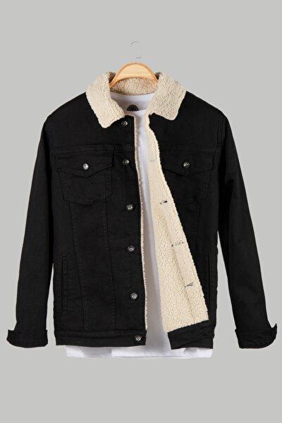 Erkek Siyah Düğmeli Içi Kürklü Kot Ceket Vavn20k-9200078