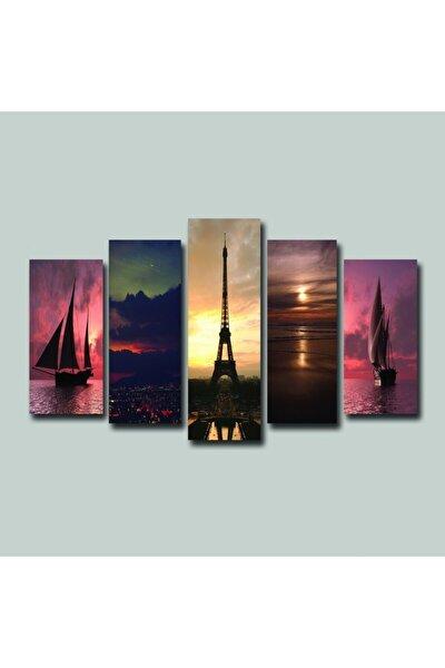 Eyfel Paris Renkli Yelkenli 5 Parçalı Tablo Seti