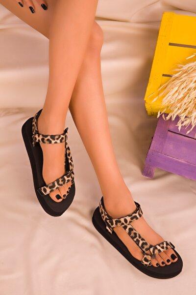 Siyah-Leopar Kadın Sandalet 16280
