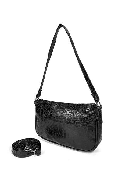 Siyah Kroko Desenli Ayarlanabilir Askılı Baget Baguette El Ve Omuz Çantası