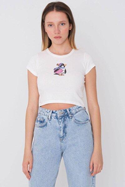 Kadın Baskılı Kısa T-shirt P1169