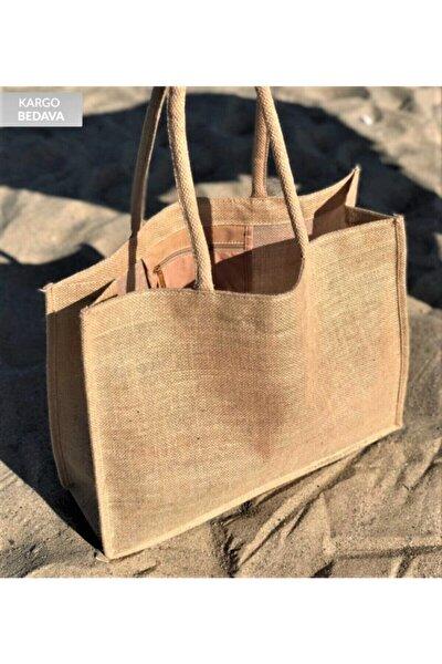 Kadın Hasır Plaj Çantası- Jüt Kumaş Ham Renk Yumuşak Saplı