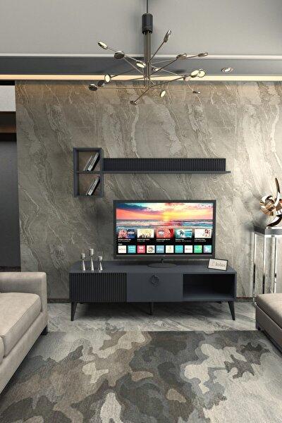 Antrasit Renk Siyah Ayaklı Azra Tv Ünitesi 160 cm