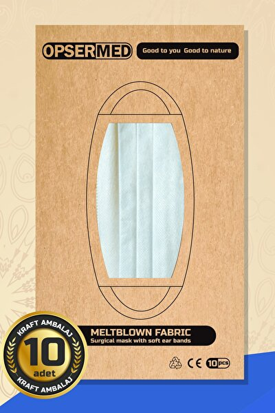 Kraft Ambalaj 3 Katlı Meltblownlu Burun Telli Cerrahi Maske 10 Adet (yumuşak Elastik Kulaklı) Beyaz