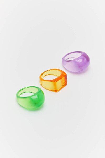 3'lü Neon Renkli Reçine Yüzük Seti