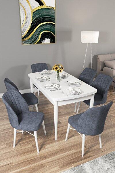 Arel Serisi Mdf Beyaz Mutfak Masası Takımı 6 Adet Füme Sandalye