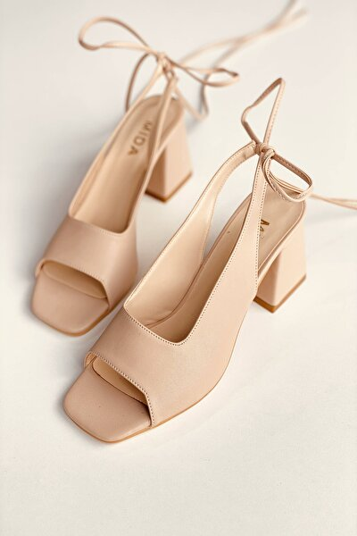 Ten Deri Bağıcıklı Topuklu Ayakkabı