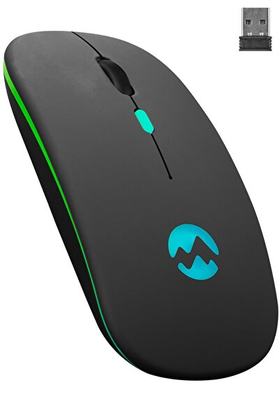 Smw-710 Usb 2.4ghz Siyah Ledli 800/1200/1600dpi Şarjlı Kablosuz Mouse