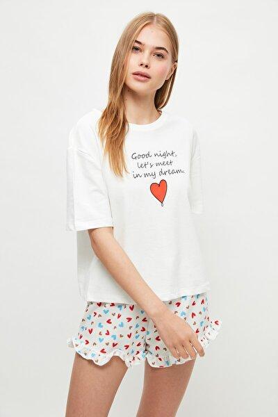 Kalp Desenli Örme Pijama Takımı THMSS21PT1241