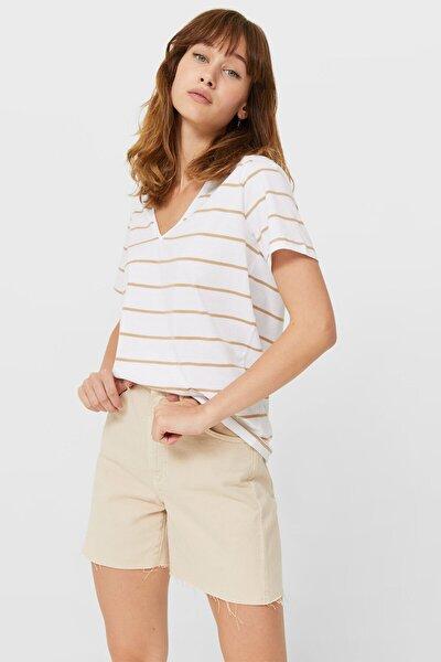 Çizgili Basic V Yaka T-shirt