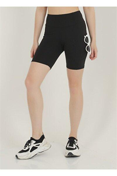 Kadın Biker Toparlayıcı Yüksek Belli Çift Cepli Kısa Spor Tayt