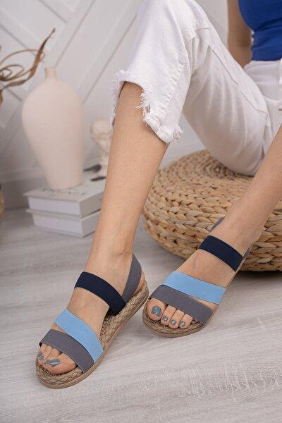 Kadın Gri Günlük Ortopedik Şeritli Sandalet D035
