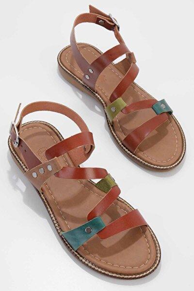 Çok Renkli Hakiki Deri Kadın Sandalet K05826001303