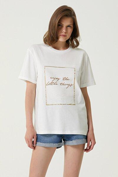 Kadın Basic Fit Beyaz Baskılı T-shirt 1079559