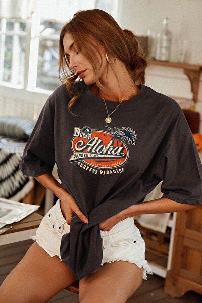 Antrasit Oversize Aloha Baskılı Kadın T-shirt