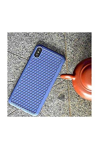 """Bv Weaving 2.nesil Iphone Xs Max 6.5"""" Koyu Mavi Hasır Desenli Kılıf"""