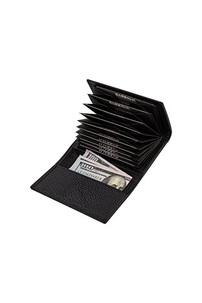 Unisex Siyah Cuba Hakiki Deri Mıknatıslı Kartlık Cüzdan