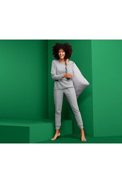 Kadın Gri Çift Taraflı Pijama Takımı