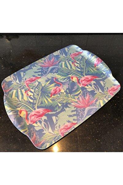 Melamin Kaydırmaz Tepsi 41 Cm Flamingo Desen