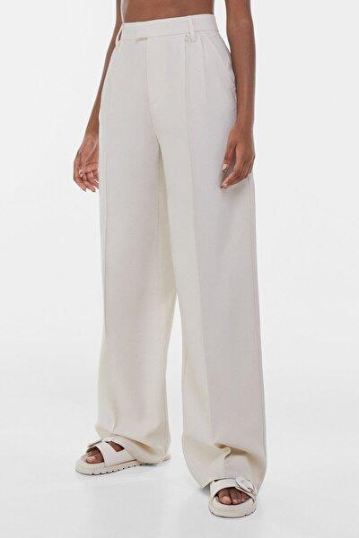 Kadın Bej Wide Leg Pantolon