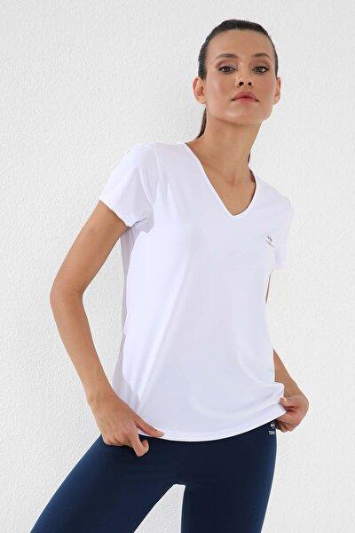 Beyaz Kadın Basic Kısa Kol Standart Kalıp V Yaka T-shirt - 97145