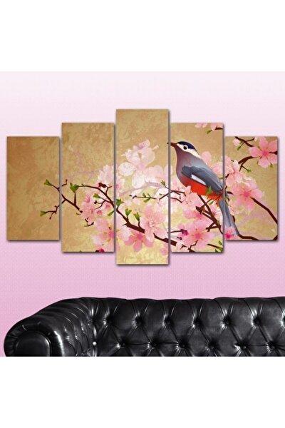 Renkli Çiçek Kuş 5 Parçalı Mdf Duvar Tablo Seti