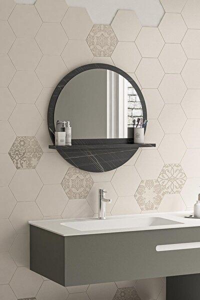 Yuvarlak Sonata Raflı 45cm Banyo Aynası Konsol Duvar Salon Mutfak Wc Ofis Çocuk Yatak Odası