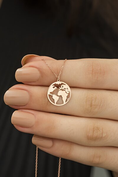 925 Ayar Gümüş Dünya Haritası Kolye Küçük Boy Dn554a
