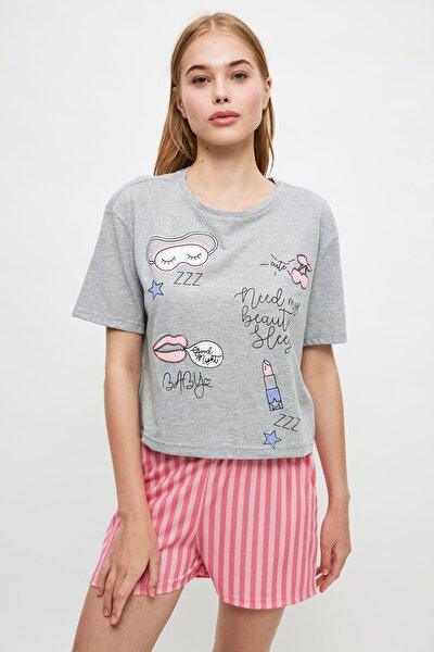 Çizgili Baskılı Örme Pijama Takımı THMSS21PT1366
