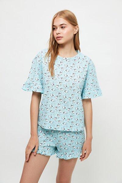 Mavi Kuzu Desenli Örme Pijama Takımı THMSS21PT1066