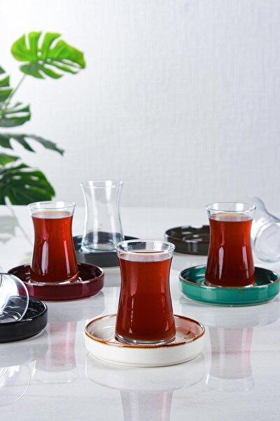 Step Porselen Tabaklı 6'lı Cam Çay Set