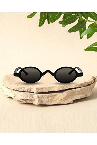Kadın Siyah Parlak Oval Güneş Gözlüğü