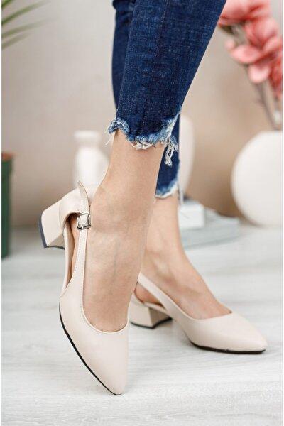 Kadın Ten Cilt Yan Açık Ayakkabı