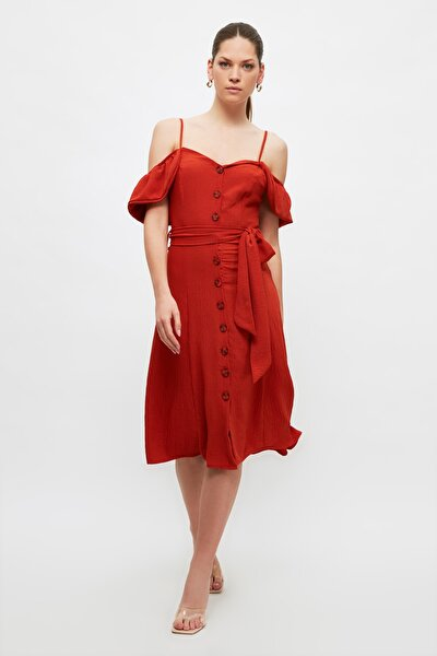 Kiremit Kuşaklı Düğme Detaylı Elbise TWOSS20EL2687