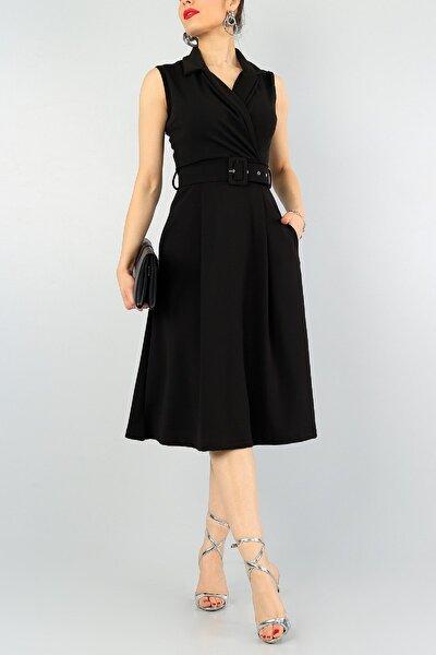 Esnek Kumaş Kruvaze Gömlek Yaka Kemer Detay Dizaltı Midi Siyah Abiye Elbise 012