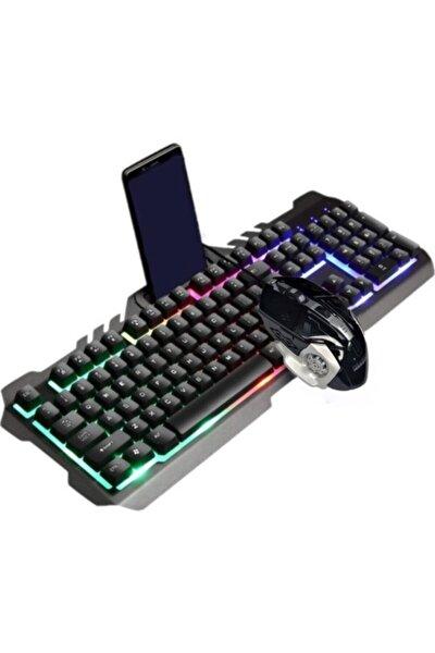 Ha-k102 Işıklı Oyuncu Klavye Mouse Seti Mekanik His Rgbli